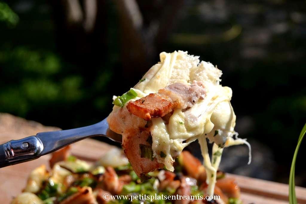 bouchée pain farci au fromage & poitrine de porc