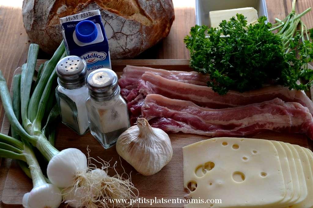 ingrédients pour pain farci au fromage & poitrine de porc
