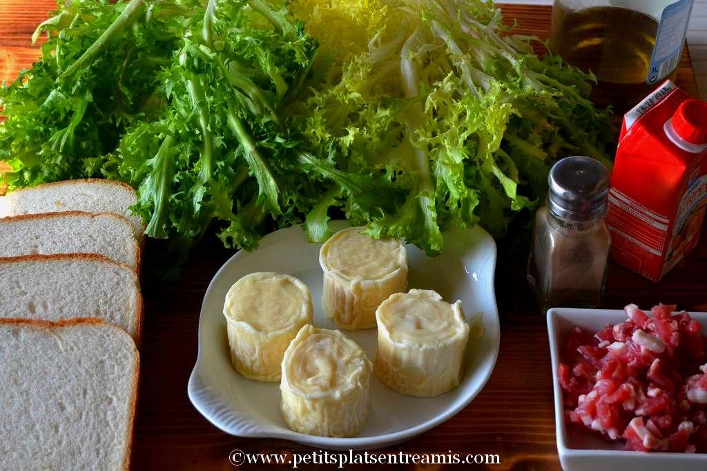ingrédients pour salade au chèvre chaud