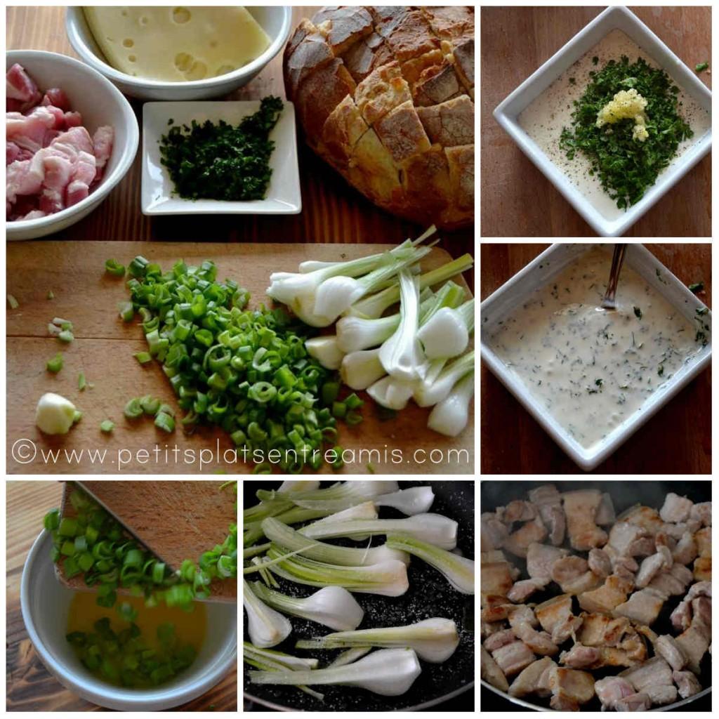 préparation ingrédients pour pain farci