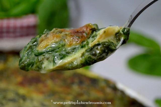 bouchée de gratin de poisson aux épinards
