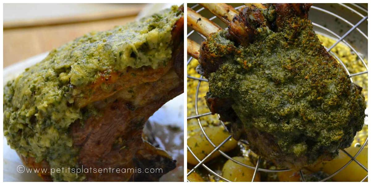 cuisson du carré d'agneau persillé