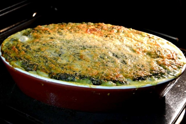 gratin de poisson aux épinards cuit