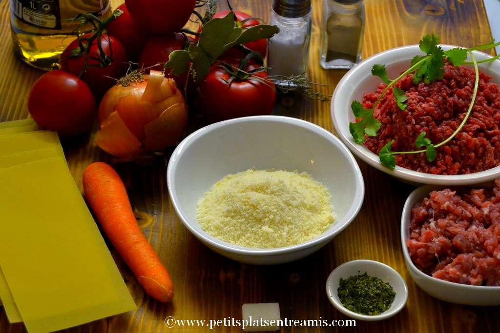 ingrédients lasagne à la bolognaise
