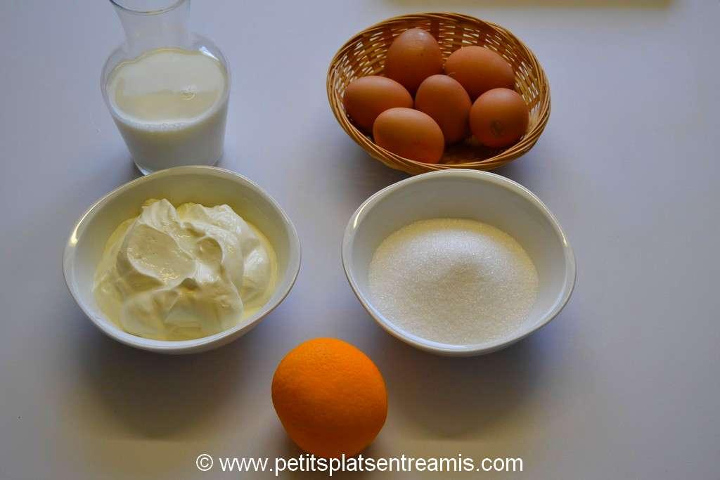ingrédients pour crème brulée à l'orange