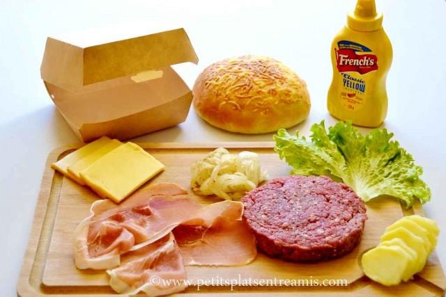 ingrédients pour hamburger au fromage de savoie