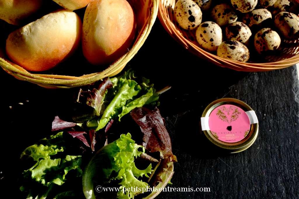 ingrédients pour mini burger au caviar