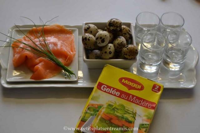 ingrédients pour oeuf de caille en verrine