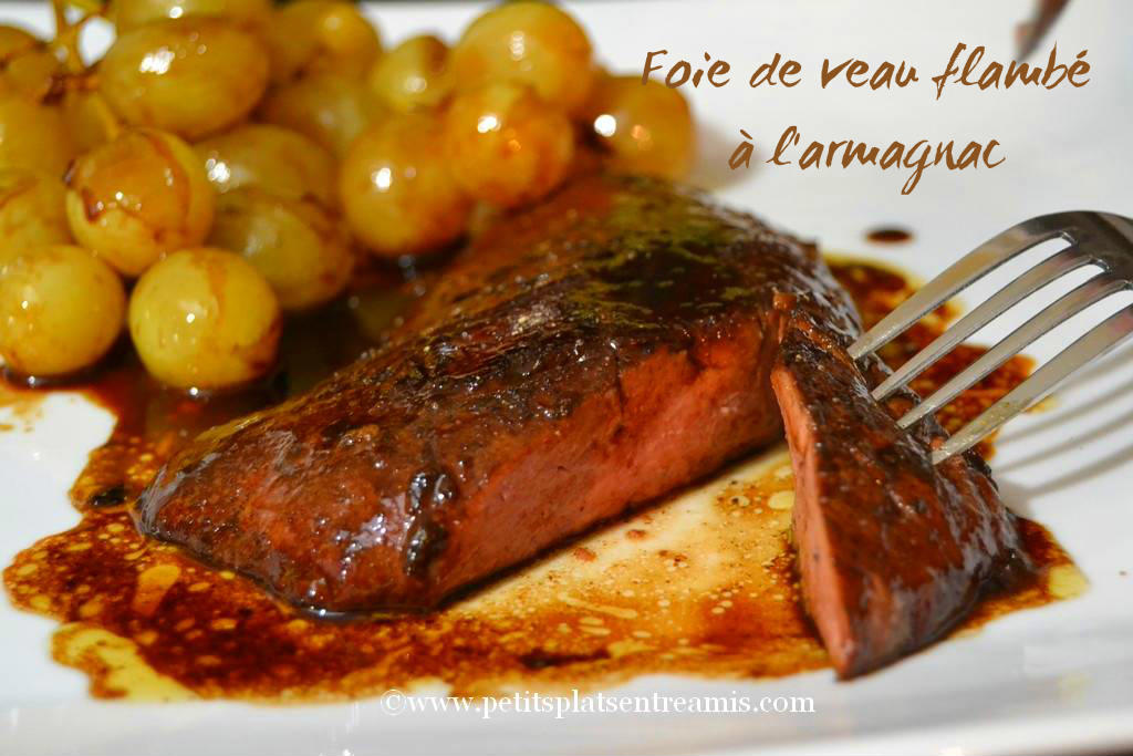 présentation Foie de veau flambé à l'armagnac