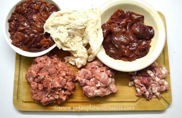 viandes hachées pour terrine de foies de volailles