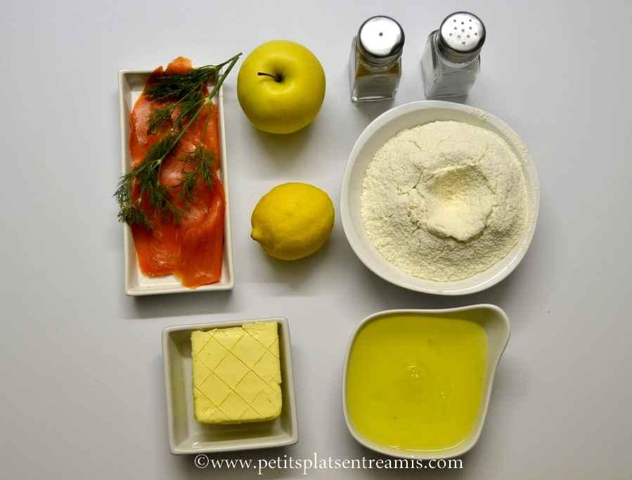 ingrédients pour financiers pomme et saumon