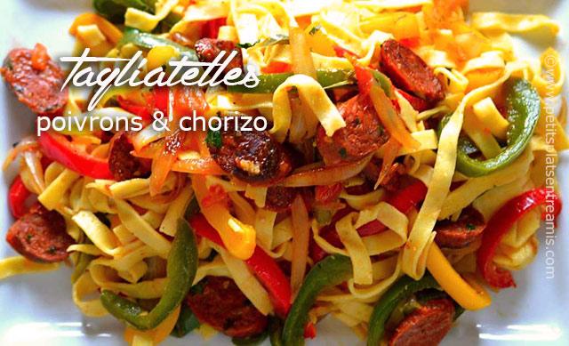 Tagliatelles poivrons et chorizo