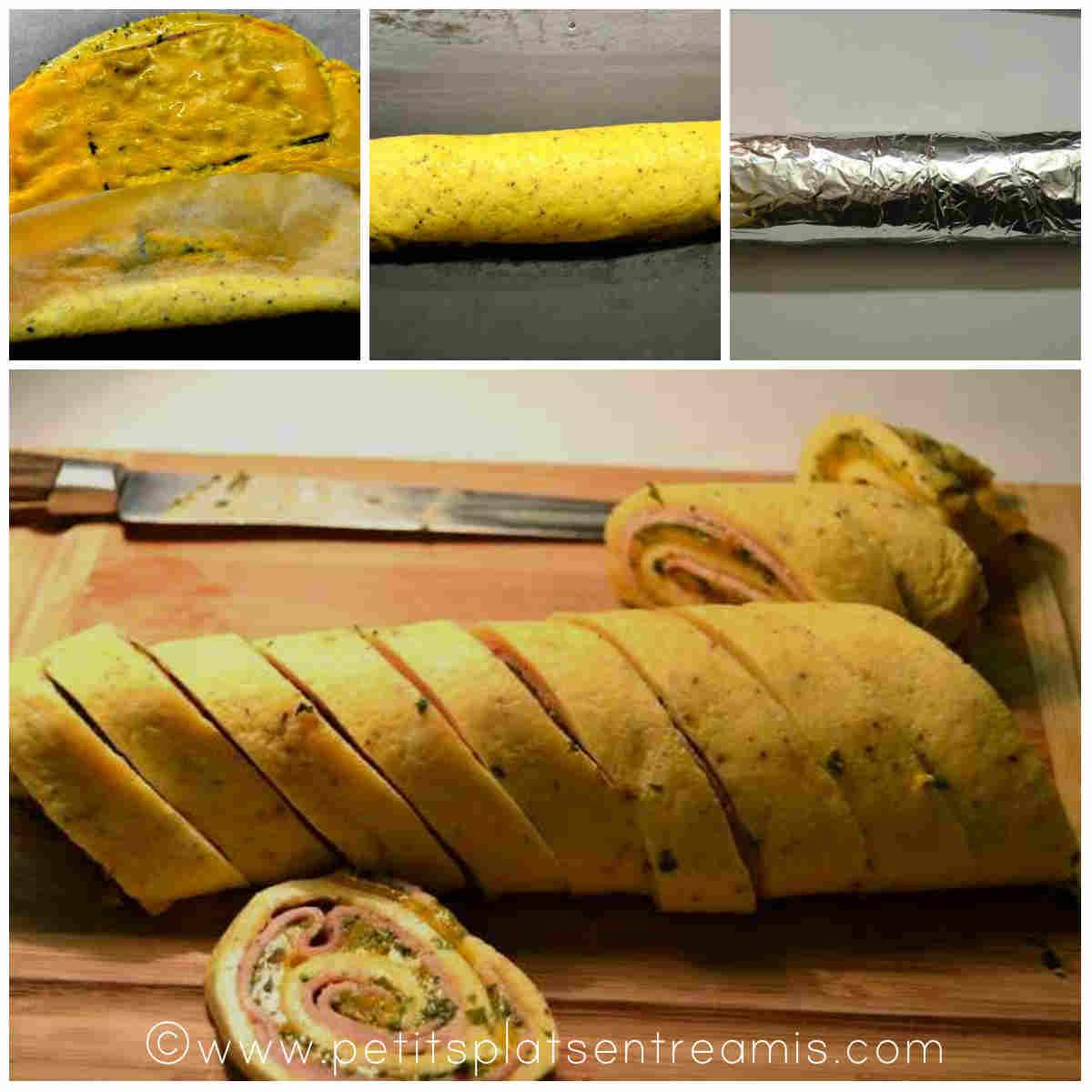 finition de l'omelette roulée