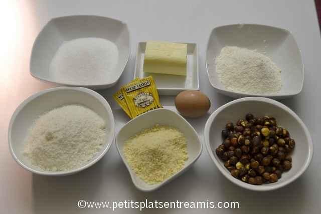 ingrédients biscuits noisettes et noix de coco