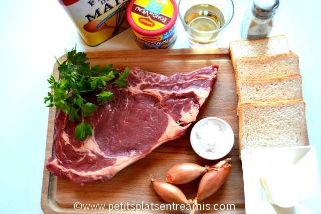ingrédients pour entrecôte sauce Bercy