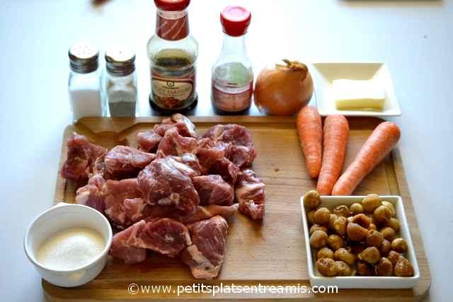 ingrédients sauté de porc caramélisé aux figues