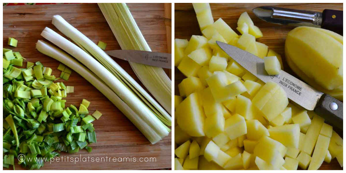 légumes découpés pour velouté