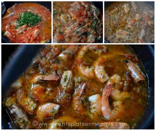 préparation des linguines aux crevettes