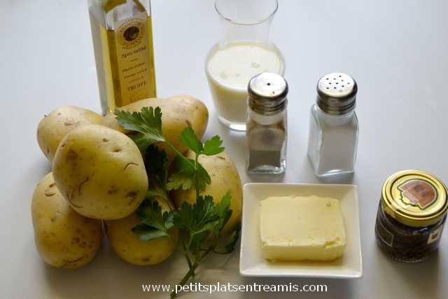 ingrédients pour écrasé de pommes de terre aux truffes