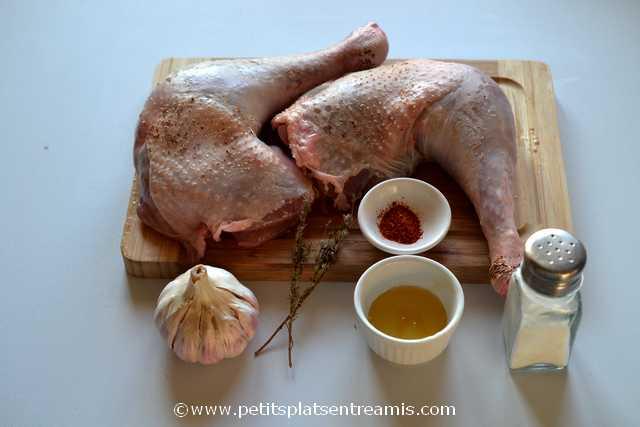 ingrédients pour cuisse de dinde rôtie au miel