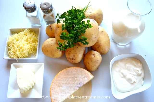 ingrédients pour flan de pommes de terre au reblochon