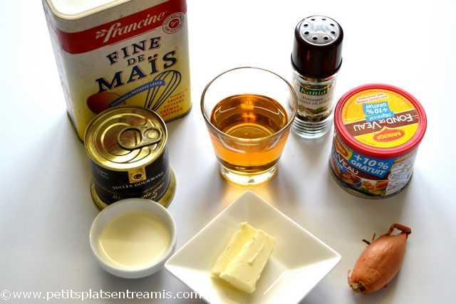 ingrédients pour sauce foie gras