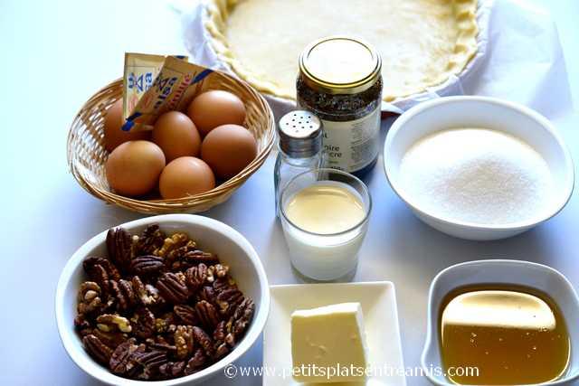 ingrédients pour tarte aux noix de pécan