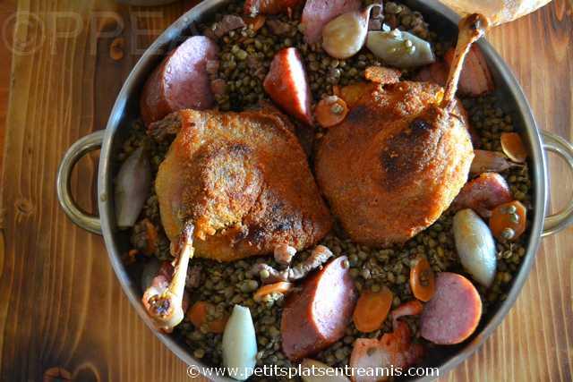 plat de cuisses de canard confites aux lentille vertes du Puy
