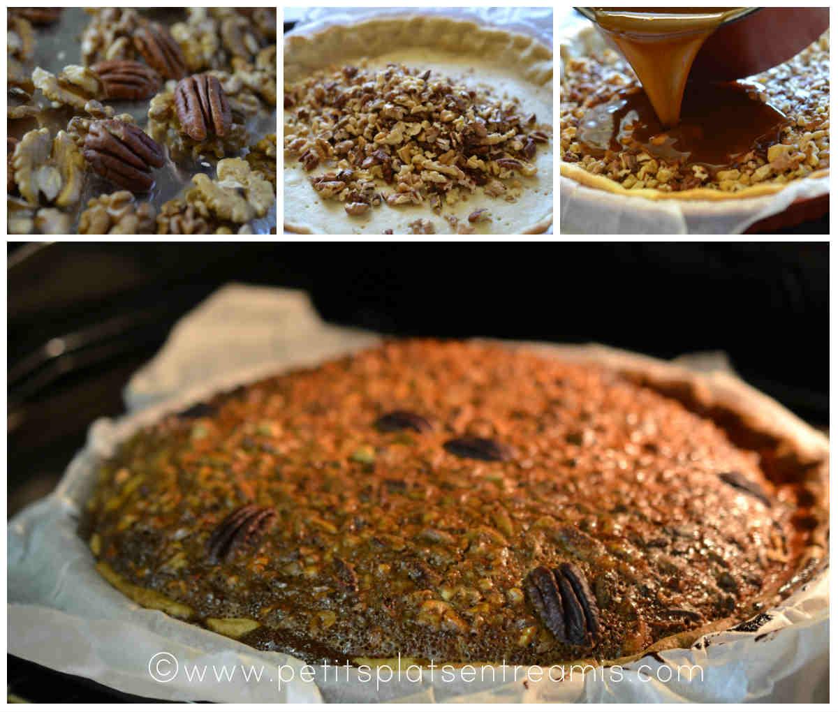 préparation de la tarte aux noix de pécan