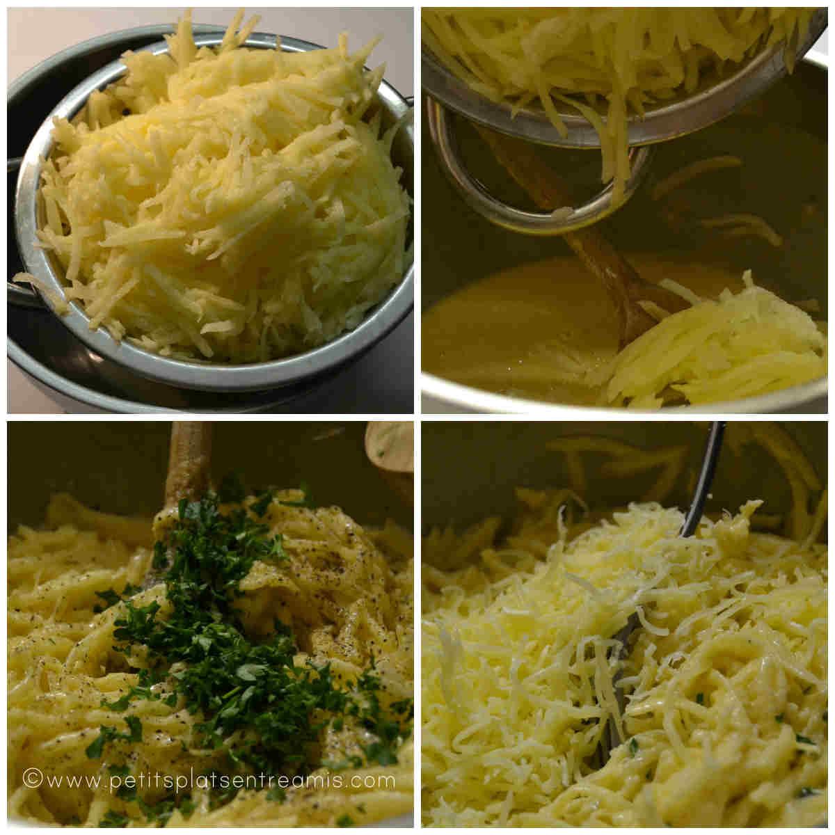 préparation gâteau de pommes de terre