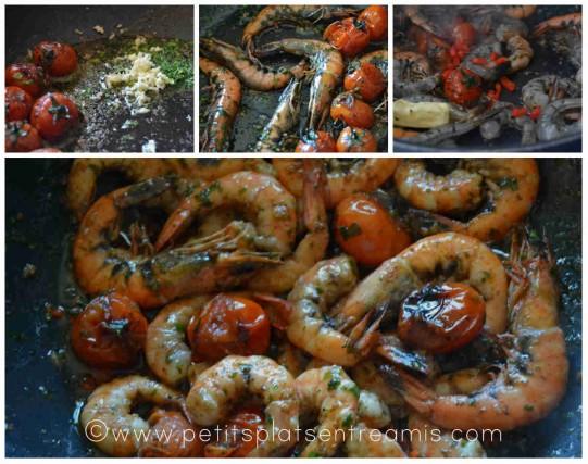 cuisson des crevettes sautées à l'ail