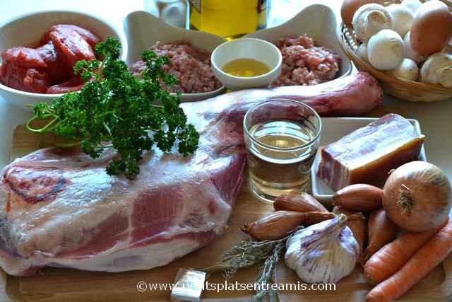 ingrédients pour épaule d'agneau farcie