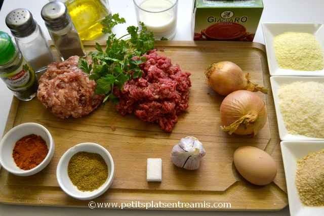 ingrédients pour boulettes de viande