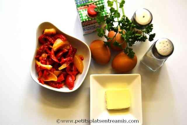 ingrédients pour brouillade aux poivrons