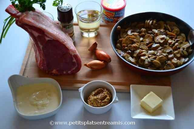 ingrédients pour carré de veau à la moutarde
