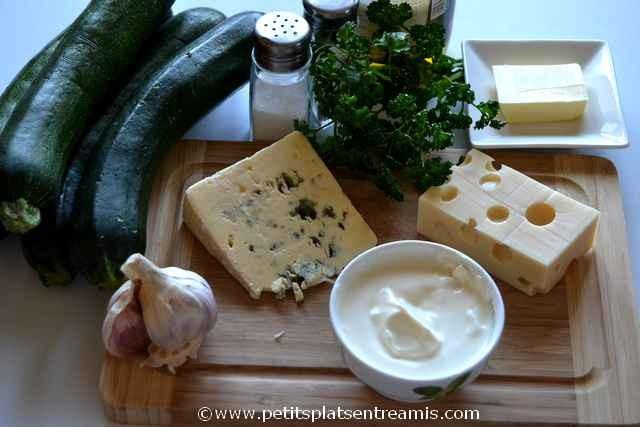 ingrédients pour courgettes au bleu