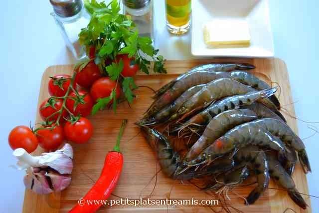 ingrédients pour crevettes sautées