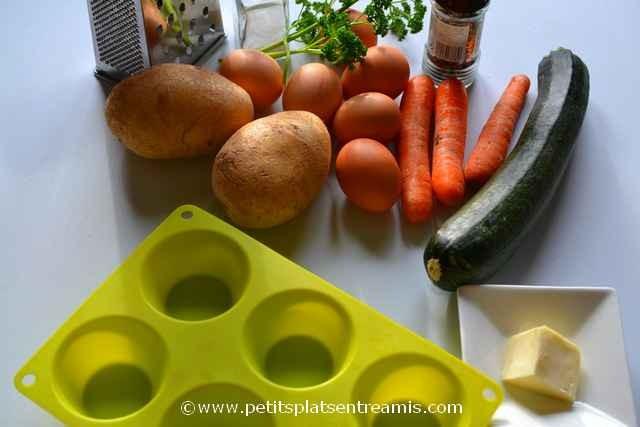 ingrédients pour oeufs en nids de légumes