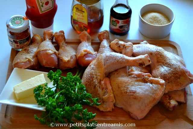 ingrédients pour pilons et cuisses de poulet à la texane