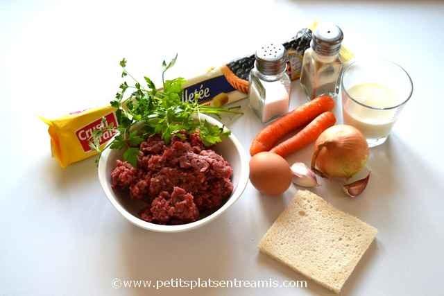 ingrédients pour rissoles au boeuf