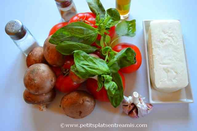 ingrédients pour tomates farcies aux champignons