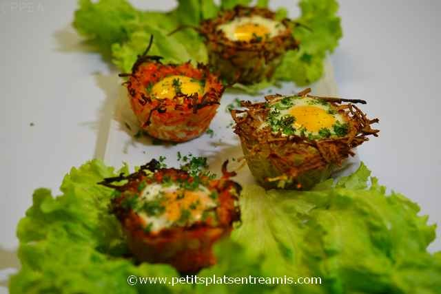 plat d'oeufs en nid de légumes