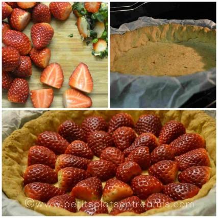 préparation de la tarte aux fraises