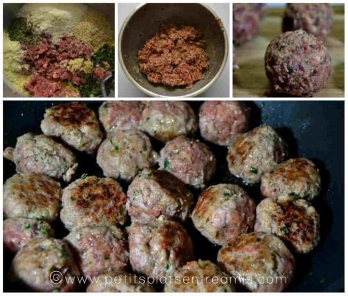 préparation de la viande en boulettes