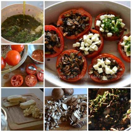 préparation des tomates farcies aux champignons