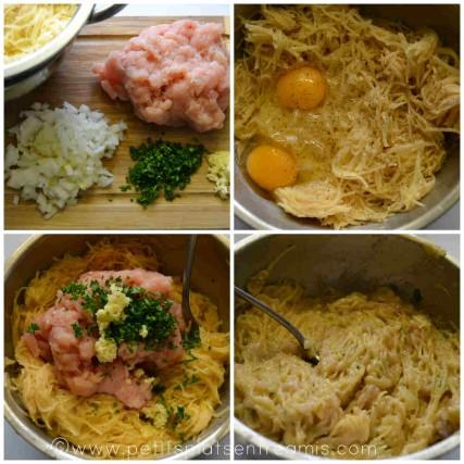 préparation galettes pommes de terre et poulet