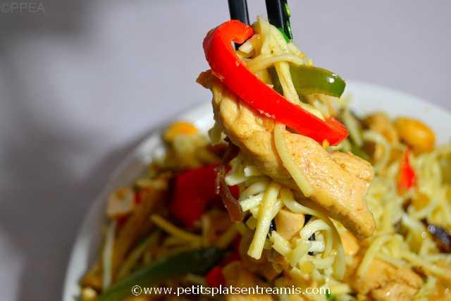 bouchée de poulet-sauté-aux-nouilles-chinoises
