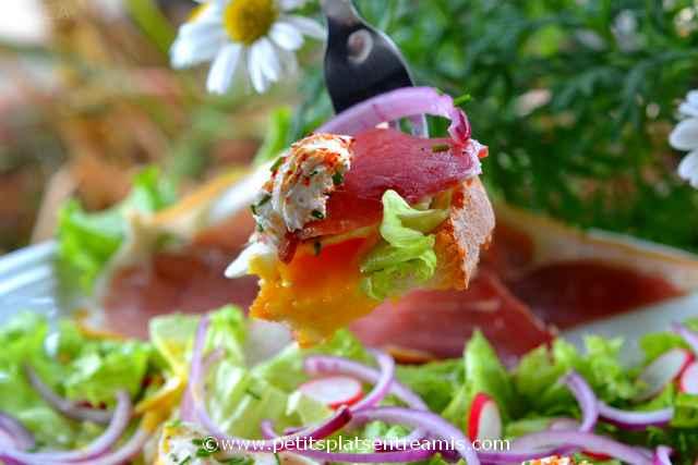 bouchée de salade au jambon de pays