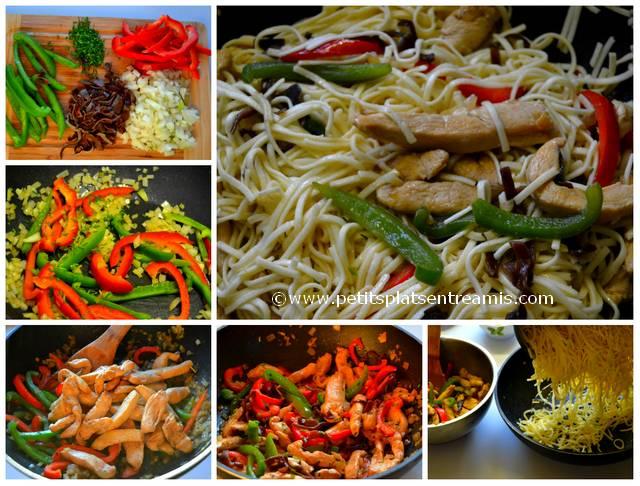 cuisson du poulet sauté aux nouilles chinoises
