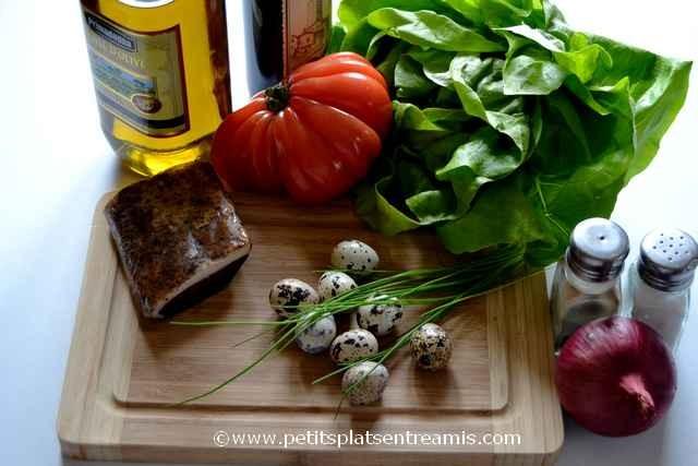 ingrédients pouir salade au magret séché